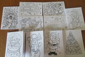 Pack of 10 Kids Christmas Colouring notelets + envelopes