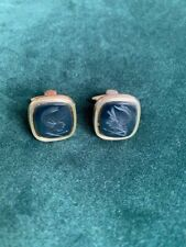intaglio carved classical warrior cufflinks Yellow metal and black onyx
