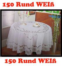 150 cm Ø RUND Weiß Vinyl TISCHDECKE SCHUTZDECKE Blumenmotiv Garten Balkon Tisch