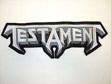 TESTAMENT  GRAY  AND WHITE LOGO       EMBROIDERED BACK PATCH