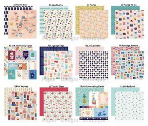 2 Sheets of Carta Bella Paper LET'S TRAVEL 12x12 Scrapbook Cardstock - U Choose