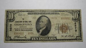 $10 1929 Georgetown Kentucky KY National Currency Bank Note Bill! Ch. #8579 RARE