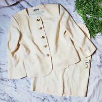 Vtg 1980s Deadstock Lilli Ann 2 Piece Ivory Wool Skirt Jacket Suit Set XL 16 NWT