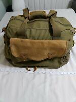 Vintage Eddie Bauer Ford Green Canvas Duffel Bag Carry On Travel Leather Trim