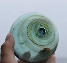 "Vintage Japanese Glass Fishing Float, 3.58"", Yellow Swirls, FREE SHIPPING"