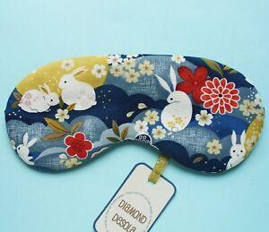 Eye Sleep Mask Rabbit Moon Bunny Soft Cotton Flight Gift Blackout Relax UK Made