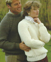 "Easy Knit Ladies & Mens Raglan Sweater Aran Knitting Pattern 32-44"" 613"