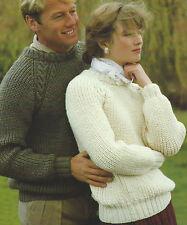"""Easy Knit Ladies & Mens Raglan Sweater Aran Knitting Pattern 32-44"""" 613"""