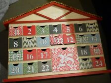"""Threshold 2014 Tabletop Wood Christmas Tree Red and White ADVENT CALENDAR 15"""""""