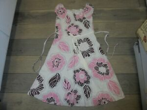 Bonnie Jeans ivory dress with brown & pink floral design size 12 1/2 PLUS