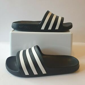 Adidas Black White Pool Sliders Sandals Shoes UK 6 New Without Tags