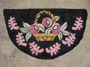 semi-antique American hooked rug on burlap hand made folk art flower basket