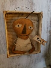 "Handmade Primitive Pumpkin Shadow Box 5"" x 6"" Halloween decor"