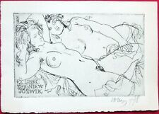 Erotica Two Nude Ladies Etching Ex-Libris by Evald Okas Signed Estonia 1978
