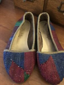 Vintage Kilim Carpet Flat Shoes Made In Turkey