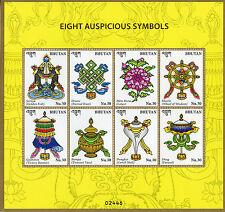 Bhutan 2016 MNH Eight Auspicious Symbols 8v M/S Buddha Buddhism Stamps