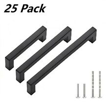25 Pack 6 inch Matte Black Square Cabinet Pulls Stainless Steel Cabinet Handles