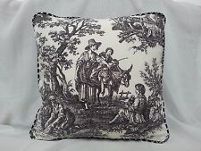 WAVERLY BLACK AND CREAM FRENCH COUNTRY LIFE TOILE PILLOW COVER 18 x 18