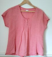 Poetry Coral Pink 100% Linen Top Short Sleeve Casual T-Shirt Scoop Neck UK 10
