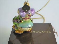 Jay Strongwater Mini Frog Prince Glass Ornament New in Box Swarovski Crystals