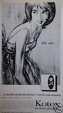 PUBLICITÉ 1965 KOTEX SERVIETTE PÉRIODIQUE VRAIE SÉCURITÉ - ADVERTISING