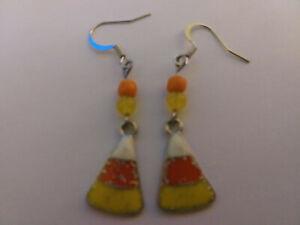 Silver enamel Candy Corn Earrings Glass Bead Sterling silver earwire HALLOWEEN