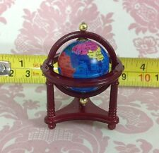 Dollhouse Miniature Detail Spinning Blue Earth Globe w/ Wood Brown Stand 1:12