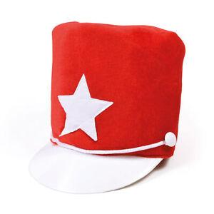 Majorette Hat Red Soft Felt Marching Band Unisex Fancy Dress Mens Ladies