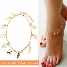 Leaf Charms Tassel Anklet Bracelet Stunning Adjustable Foot Chain Gold Plated