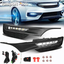 for 2016-2017 Honda Accord Sedan LED Fog Lights Front Bumper Lamps+Wiring+Switch