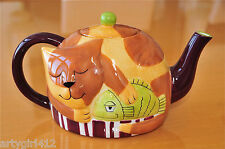 Napping Tabby Cat Teapot Tea w/Green Fish NEW