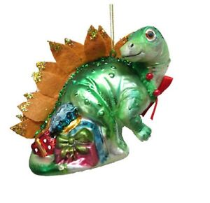 December Diamonds Green Dinosaur Christmas Ornament