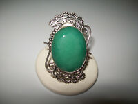 VINTAGE AWESOME  HUGE NATURAL EMERALD COCKTAIL RING  SIZE 8