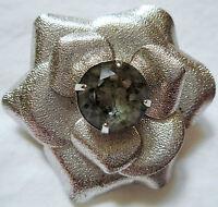 LUPITA HAPACHICO Vintage 70s Brooch Pin Charm Rose Flower Silver Gray Rhinestone