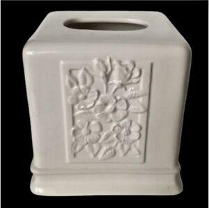 Ceramic Kleenex Tissue Box Cover Cube Embossed Flowers Floral Design Off White