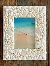 Handmade White Natural Seashell Picture Frame Weddings Gifts Photos 8x10 4x6