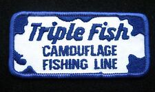 """TRIPLE FISH CAMOUFLAGE FISHING LINE SEW ON PATCH ANGLER JIG TACKLE 4"""" x 2"""""""