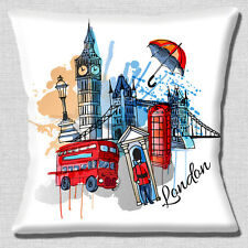 London Icons Cushion Cover 16x16 inch 40cm Big Ben Red Bus Tower Bridge Artistic