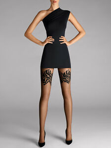 WOLFORD Sina 20 DEN Sheer Tights Size M Bold Patterned Squares Stay-Up Effect