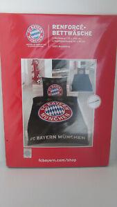 FC Bayern München Renforce Bettwäsche 135x200 Baumwolle schwarz Knopfverschluss