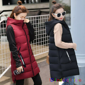 Women Hoodie Long Vest Cotton Pad Sleeveless Winter Down Jacket Coat Waistcoat
