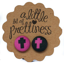 Custom Hot Pink Cross kitsch Fabric Covered Button Stud Earrings surgical steel