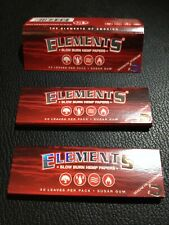 3 Packs Elements Red 1 1/4 Ultra Thin Hemp Rolling Papers w/magnet USA FREE SHIP