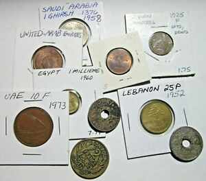 VINTAGE LOT OF 10 COINS. LEBANON, SAUDI ARABIA, UAE, ETC. SEE PICS.