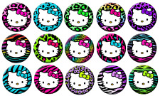 "HELLO KITTY WILD ANIMAL PRINT - Lot of 15 Pin Back 1"" Buttons (One Inch)  Set"