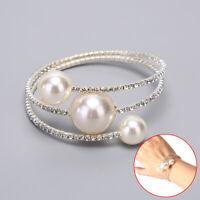 Women Silver Pearl Multilayer Crystal Bracelet Bangle Charm Wedding Jewelry