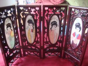 Four Gracious Plants folding screen room divider  Porcelain Woman Flours