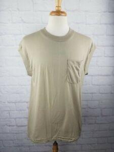 VTG 80s 90s Fruit of the Loom BROWN Pocket Surf Skate Punk Sleeveless T Shirt XL