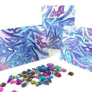 Blue Aqua Small Cards (6) Envelopes Gift Tags Original Designs By Amie Shalna