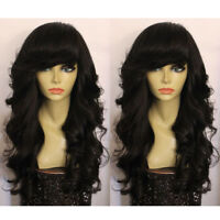 Human Hair Full Lace Wigs With Bangs Peruvian Body Wave Lace Front Wigs Virgin